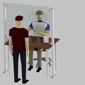 Hygienewand mit Standfüßen & Ausschnitt
