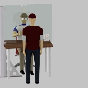 Hygienewand mit einem Standfuß & Ausschnitt